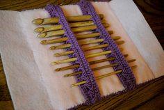 Broomstick Lace #crochet hook holder clutch free pattern from CrochetKitten