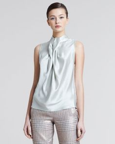 Giorgio Armani Pleated-Front Silk Blouse, Oyster