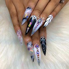 Vina's Nails @vinanailshouston Instagram. Black white and bright!!!!!! #gelnails #nailshop#nailstagram #vinanailshouston #nailwow #nails #bes...