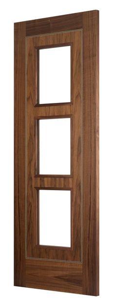 Monaco Walnut  3-Light bespoke door - beautiful modern door for beautiful modern home