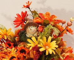 Fall Girl Scarecrow on Glittery Pumpkin Floral by PamsDeZines