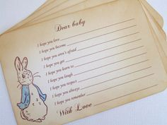 Peter Rabbit Dear Baby Shower Activity Game by simplyprettypieces