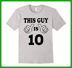 Mens This Guy is ten 10 Years Old 10th Birthday Gift Ideas Boy  Medium Silver - Birthday shirts (*Amazon Partner-Link)