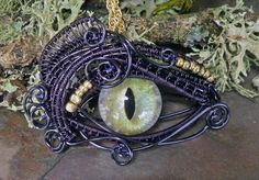 Gothic Steampunk Evil Cat Opal Eye Pendant in by twistedsisterarts, $44.95