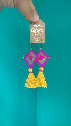 Items similar to Ojo de Dios earrings Gods eye earrings ojo de Dios jewelry on Etsy Textile Jewelry, Fabric Jewelry, Clay Jewelry, Jewelry Crafts, Handmade Beaded Jewelry, Handcrafted Jewelry, God's Eye Craft, Style Floral, Etsy Fabric