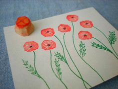mini poppy hand carved stamp, hand carved rubber stamp, handmade rubber stamp on Etsy, $5.00