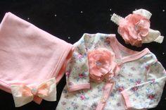 Newborn baby girl footed onesie layette pink by BeBeBlingBoutique, $45.00