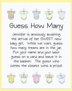 Baby Shower Game  Guess How Many  Candy Jar by CardsByKooper - Quick and Easy Baby Shower Games