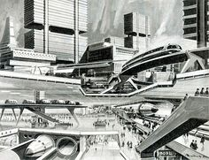 Future City Renderings + Art - Page 14 - SkyscraperCity Future City, Turin, Cyberpunk, Disneyland, Illustrations Vintage, Rendering Art, Sci Fi City, Cities, World Of Tomorrow
