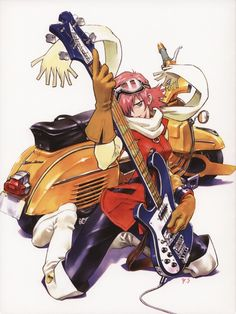 Re: FLCL Vespa - It's FINISHED! Nice to see you finished what is now the best replica FLCL Vespa yet! Manga Anime, Old Anime, Manga Art, Anime Art, Flcl Manga, Flcl Haruko, Furi Kuri, Kawaii, Art Reference