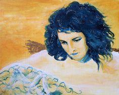 Golden angel, 24 x 30 cm, acrylics on mdf with 23,75 karat gold leaf FOR SALE - Janet Plantinga Art