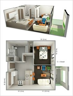 One Bedroom Apartment Layout - One Bedroom Apartment Layout, 1 Bedroom Apartment Floor Plans Small Studio Apartment Design, Studio Apartment Layout, Apartment Interior Design, Studio Layout, Tiny Studio, Studio Apartment Floor Plans, Interior Ideas, 3d House Plans, Small House Plans