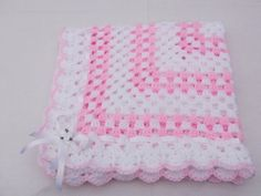 crochet for baby girl | crochet white and pink vintage style blanket baby shawl 30x30 baby ...