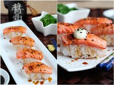Blowtorched Salmon Nigiri Sushi | Dance of Saucepans