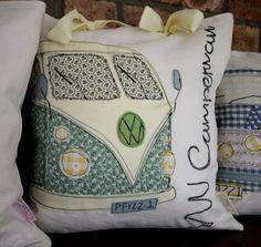 Green CLASSIC VW CAMPERVAN - Retro Iconic Vehicle Cushion. via Etsy.