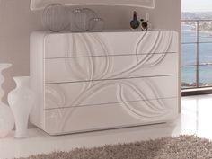 Commode. Mod. HOJAS 260H White Bedroom, Room Set, Bed Design, Chest Of Drawers, Dresser, Storage, Ideas Para, Furniture, Decoration