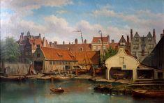 Werf Het Jagt aan de Nieuwe Looijersloot in de situatie van rond 1872 Schilderij Eduard Alex Hilverdink 1875