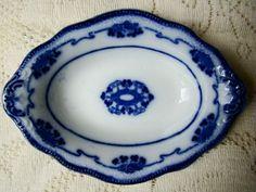 "Grindley Flow Blue 4 1 4 x 6"" Sauce Dish   pattern is Lorne"