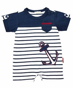 Le Top Baby Boys Navy Blue Stripe Romper with Big Anchor