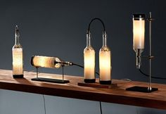 Upcycled Wine Bottle Lamp Series by John Meng Liang Wine Bottle Lamp Series 16 – designCot Gotta make this absolutly! Rustic Stone, Modern Rustic, Bottle Painting, Lamp Design, Design Design, Handmade Home Decor, Home Decor Accessories, Candle Sconces, Wall Lights
