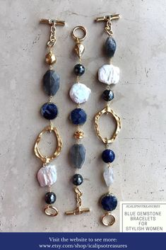 Blue lapis lazuli, mother of pearls, gray quartz and gold brass bracelet for women, special Valentines gift for girlfriend, wife or birthday gift for mom or friend. Visit the website to see more.