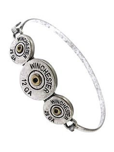 Silver tone rustic Winchester bullet bracelet with hook closure.                                                                                                                                                                                 More