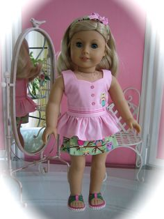 Peplum top and skort set made to fit 18 inch American by MenaBella, $16.95