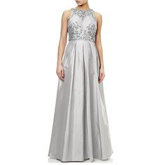 Buy Adrianna Papell Halter Neck Two Piece Taffeta Beaded Gown, Silver Online at johnlewis.com