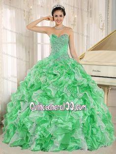 2013 New Medium Spring Green Ruffled Beaded Sweet 16 Dress
