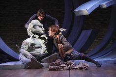 Me performing Caliban in the RSC's production of the Tempest - Puppet made by Lindie Wright, Little Angel Theatre