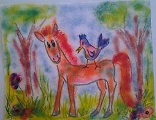 "NFAC Bird Pony Horse Original 8""x 10"" Mixed Media Painting Whimsical Naive"