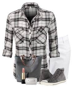"""""""Plaid Chic"""" by flowerchild805 ❤ liked on Polyvore featuring Old Navy, Independent Reign, Lancôme, Express and Converse"""