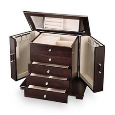 Kohls Jewelry Box Impressive Details About Jewelry Chest Armoire Wood Box Drawer Organizer Walnut