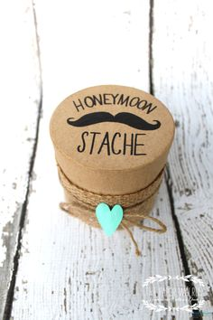 Mustache Honeymoon Fund Box with Burlap - Custom Colors.  via Etsy.