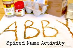 Spice Up Your Name Preschool Activity - five senses preschool theme - 5 Senses Craft, Name Activities Preschool, Five Senses Preschool, 5 Senses Activities, My Five Senses, Fall Preschool, Preschool Classroom, November Preschool Themes, Preschool Family
