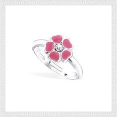 New girls pink enamel flower ring.