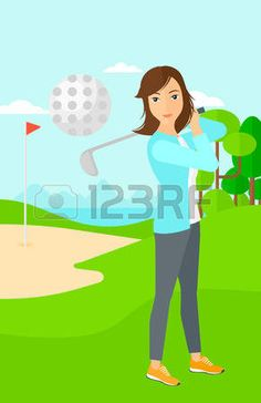 A woman hitting the ball on golf field vector flat design illustration. Vertical layout. Golf Clip Art, Flat Design Illustration, Tinkerbell, Vector Art, Disney Characters, Fictional Characters, Layout, Nike Golf, Cartoon