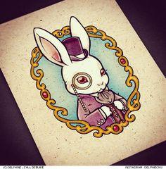 "rabbit illustration (c) Delphine ""CHU"" Debuire http://instagram.com/delphiechu #illustration #tattooflash #artwork #sketch #tattoo #cute #rabbit #whiterabbit #wonderland"