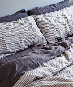 In Bed Stripe Linen Duvet Set Bedrooms Home Bedroom Linen Duvet Cozy Bedroom, Bedroom Inspo, Dream Bedroom, Bedroom Decor, Linen Bedroom, Bedroom Sets, Home Interior, Interior Design, Deco Studio
