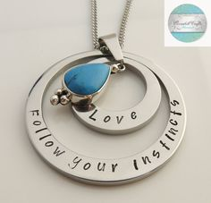 Shop for turquoise on Etsy, the place to express your creativity through the buying and selling of handmade and vintage goods. Etsy Jewelry, Jewellery, Unique Jewelry, Love Stamps, Hand Stamped Jewelry, Felt Hearts, Gifts For Mum, Christmas 2016, Love Messages
