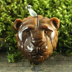 CA04110# Natural Carved Lion head  Tiger's eye Bead Pendant With Clasp #Handmade #Pendant