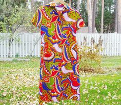Colorful 1970 Dress US Size 8 EU 38 Vintage by MerilinsRetro