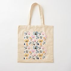 Printed Tote Bags, Cotton Tote Bags, Reusable Tote Bags, Custom Bags, Printed Cotton, Floral Design, Cotton Fabric, Autumn, Seasons