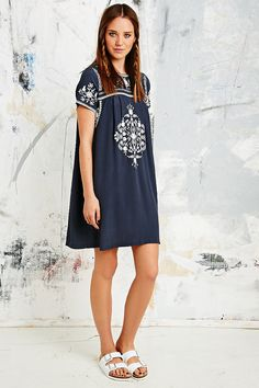 Little White Lies Mexican Embroidered Dress in Navy - Urban Outfitters so cute.so expensive Urban Outfitters, Mexican Embroidered Dress, Urban Dresses, Models, Little White, Mannequin, Spring Summer Fashion, Casual, Style Inspiration