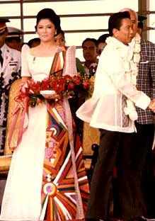 President Ferdinand Marcos and Former First Lady Imelda Marcos in 1976 by Diana J. Limjoco- all rights reserved. Filipiniana Wedding, Filipiniana Dress, Ferdinand, Barong Tagalog, President Of The Philippines, Filipino Fashion, Filipino Culture, Maria Clara, Traditional Dresses