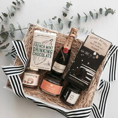 French mint drinking chocolate sitting pretty in this gourmet hamper from Gift Hampers, Gift Baskets, Christmas Hamper, Christmas Gifts, Jam Packaging, Orange Blossom Honey, Moet Chandon, Raw Cacao, Joy And Happiness