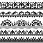 Mehndi, Indian Henna tattoo seamless pattern, design elements