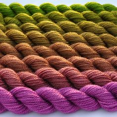 Orchid to Botanical Green Color Bridge Yarn Set. $51.10, via Etsy.