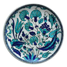 An Iznik Pottery Dish with cobalt and turquoise tulips by nicea, $250.00