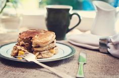 Whole Wheat Peach Pancakes! Things just got a bit more yummiest at breakfast time! Enjoy!